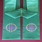 Woven Cross and Circle Clergy Stole