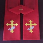 Gold Cross with Purple Crown Clergy Stole