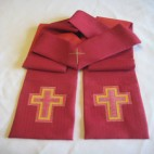 Silk Applique Cross Clergy Stole