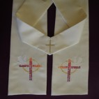 Cross and Sun Circle with Dove Clergy Stole