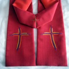 Modern Purple Cross Clergy Stole